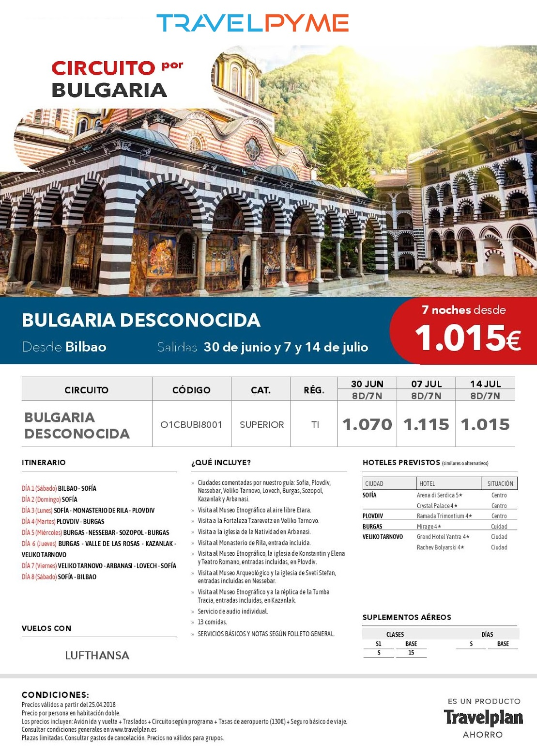 BULGARIA DESCONOCIDA 30JUN-7 y 14JUL18 BIO